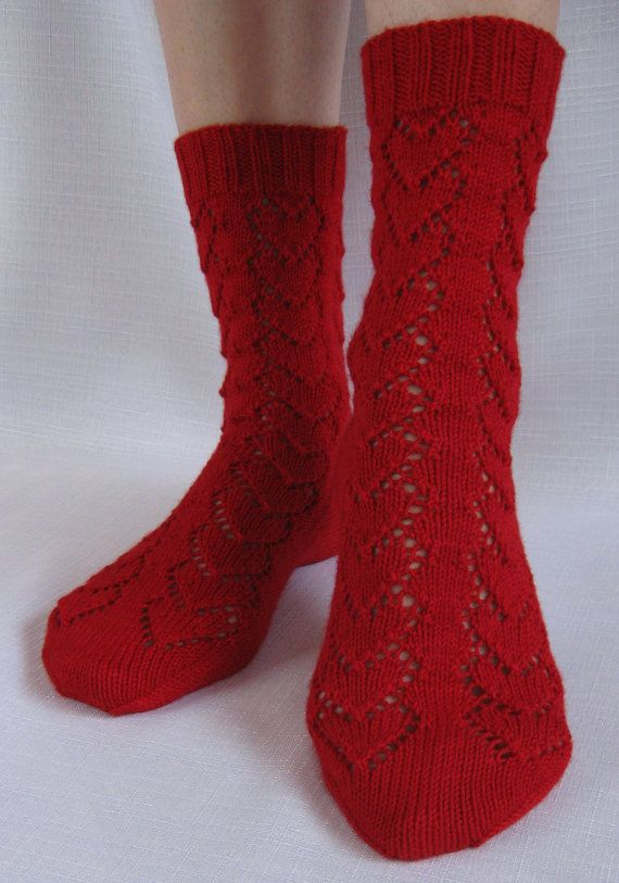 Hearts Forever Socks Hand Knitting PDF Pattern by KnitsByJo