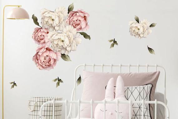 Piwonie Kwiaty Naklejki Watercolor Piekny Motyw Nie Tylko Do Dzieciecego Pokoju Na Kazdej Scianie Wyglada Przepieknie P Home Decor Decor Home Decor Decals