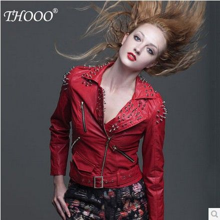 THOOO brand Women Punk Strong Spike Studded Shoulder Synthetic Leather Cropped Jacket Coat Motorcycle white Leather coat US $85.50 To Buy Or See Another Product Click On This Link  http://goo.gl/Ln6ntd