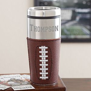 """This """"Touch Down!"""" Personalized Travel Football Mug is so unique! What a cute Father's Day Gift idea and it's just $27.95 at PMall! #Football #FathersDay"""