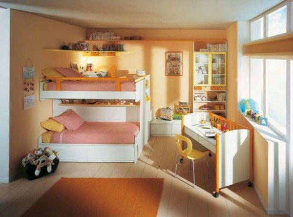 Nursery idea Brown twin desk Orange