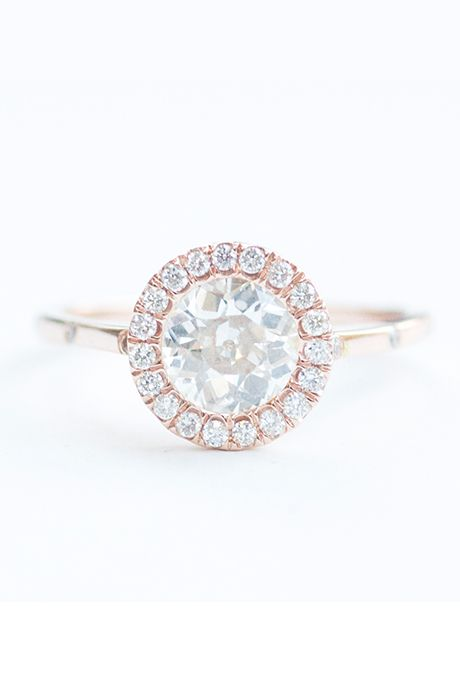 Brides: Mociun. Custom Old Miner diamond accented by a halo of antique white diamonds set in 14k rose gold, price upon request, Mociun Photo: Courtesy of Mociun Featured In: Rose Gold ...