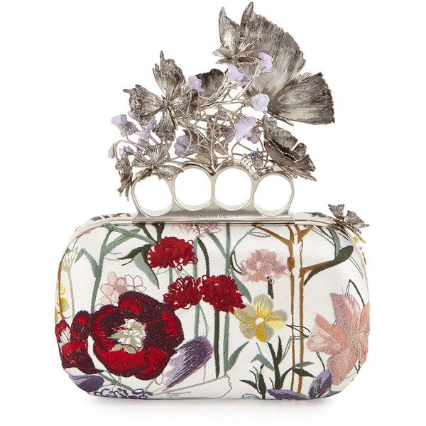 Alexander McQueen Flower-Embroidered Knuckle Box Clutch Bag ($4,145) ❤ liked on Polyvore featuring bags, handbags, clutches, white multi, box clutch, floral handbags, white satin purse, floral print handbags and white box clutch