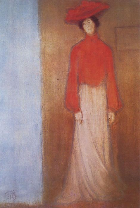'Woman in the Red Blouse', Drawing by Jozsef Rippl Ronai (1861-1927, Hungary)