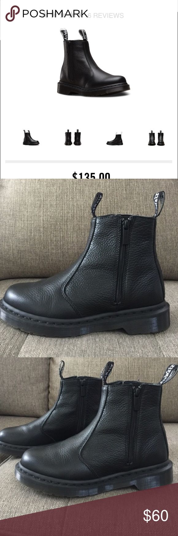 Dr. Marten boots These are a re-posh. They were slightly too big! I wear a solid 8. These are marked as an 8 but they fit like an 8.5 OR has room for super thick socks. They are incredible shape. I paid $60. They are online for $135. Dr. Martens Shoes Ankle Boots & Booties