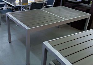 Dining-Table-Aluminium-Frame-w-Wooden-Slat-1-8M-Garden-Outdoor-Furniture