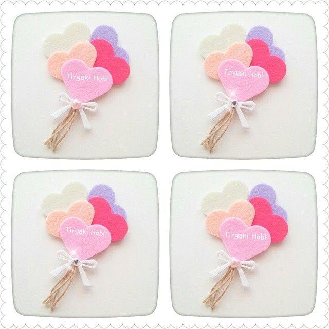 ♥ Tiryaki Hobi ♥: Keçe nikah / nişan şekeri / magneti - kalp balon demeti