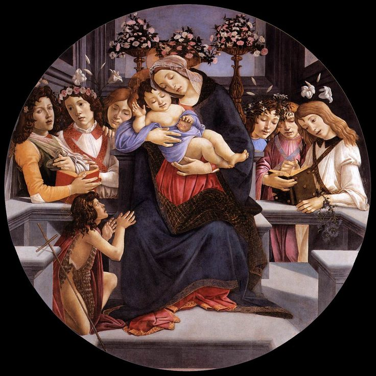 BOTTICELLI, Sandro Virgin and Child with Six Angels and the Baptist c. 1485 Egg tempera on panel, diameter 170 cm Galleria Borghese, Rome