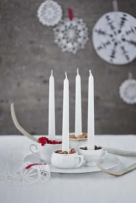 Advent candles - This would be an easy way to set advent candles and then place greenery around the plate.