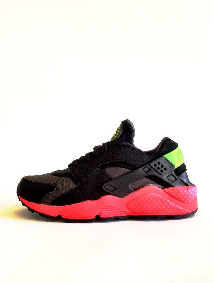 nike huarache black pink and green