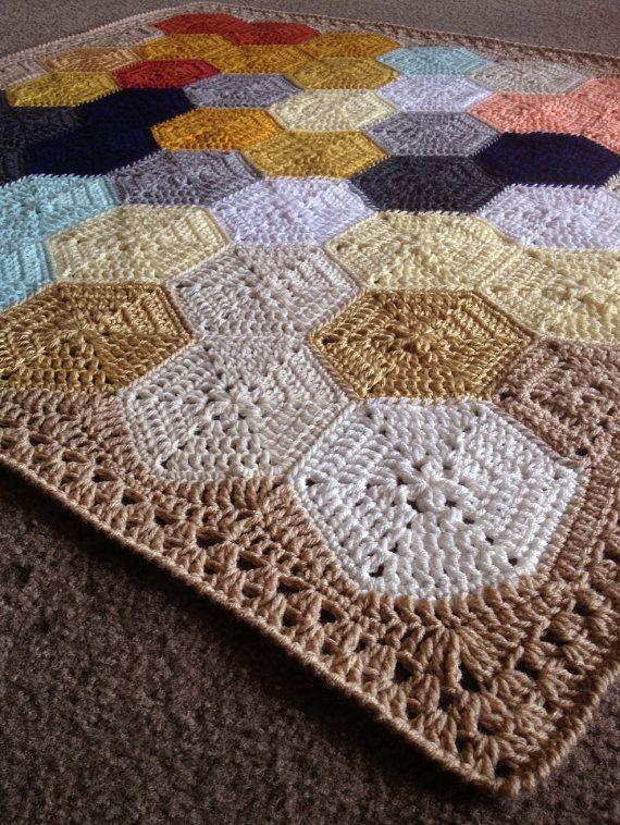 Geometric Crochet Afghan Pattern : 1000+ images about Crochet hexagon motifs on Pinterest ...