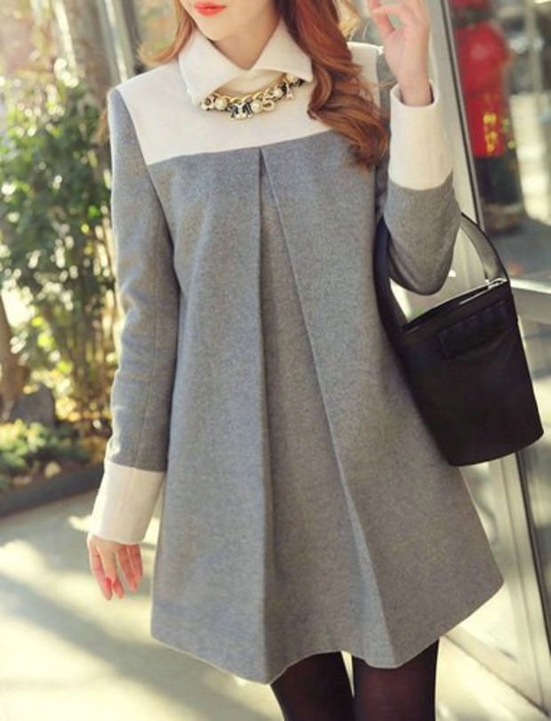 Flat Collar Long Sleeves Color Splicing Elegant Woolen Dress