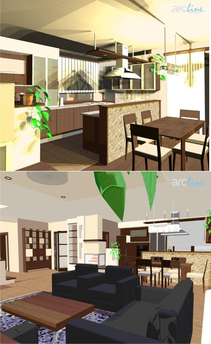 Interiér RD - návrh, vizualizácia. Design by Monika Jakubcová. www.arcline.sk