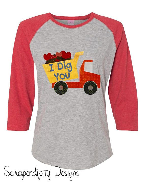 175cc9169 Boys Valentines Day Shirt - Valentine Shirt for Kids / Boys I Dig You  Raglan Shirt / Kids Valentine Tshirt / Dump Truck Valentine Outfit Tee by  ...