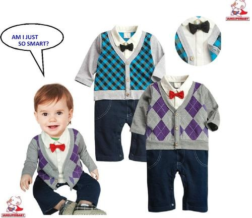 Bowtie Cardigan Pants Romper Outfit- so much better than the snap on tie and all the extras...