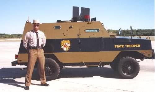 Maryland State Police, S.W.A.T. vehicle.  The Peacekeeper was originally used by the US Air Force, security police for use in the missile fields.