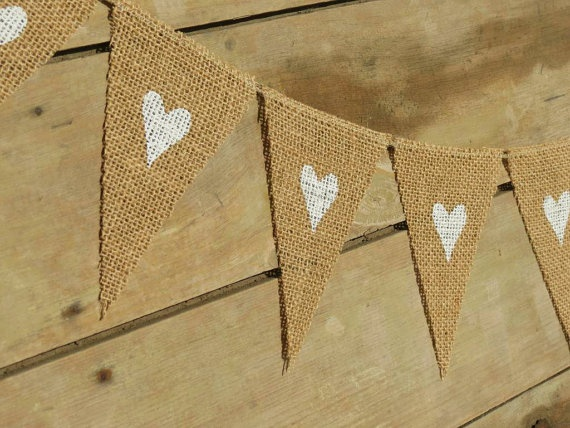 Valentine's Day Mini Heart Bunting Burlap Banner by nhayesdesigns, $20.00