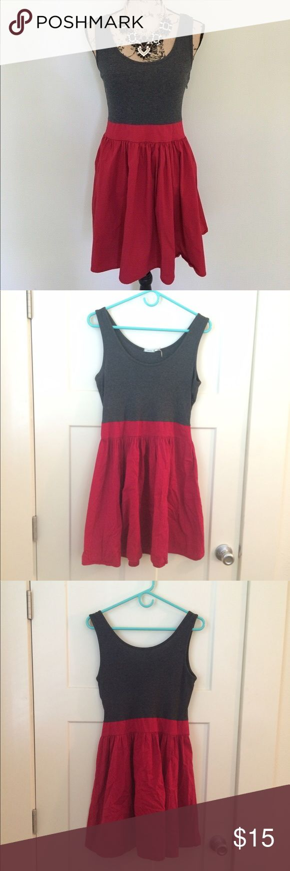 """UO Kimchi Blue Red & Grey Fit and Flare Sundress Made from natural fibers in the USA! Knit, stretchy tank top and stretch cotton skirt. 17"""" bust (unstretched and very stretchy), 16"""" waist (unstretched, slightly stretchy) and 34.5"""" long. Good used condition - pleats have been re-sewn near side seams where they came undone (see photos). Fits TTS. Urban Outfitters Dresses Mini"""