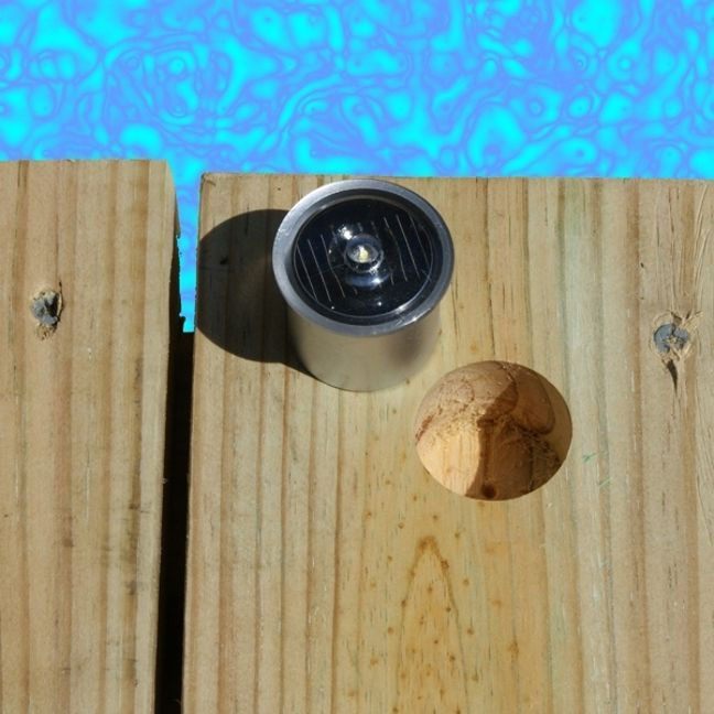 These LED lights are a great way to light up a deck, dock or pier. When night arrives the solar light's sensor automatically turns on the sealed LED lights on. Multiple units will provide a softly lit and safe pathway to walk on. They require no wiring or electricity, and are charged everyday by the sun. Solar-powered LED lights are also a terrific way to provide accent lighting in your yard, around a pool or along a walkway and etc.