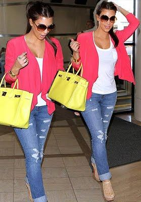 love the colors: Colors Combos, Spring Colors, Cute Outfits, Colors Combinations, Yellow Bags, Lamborghini, Casual Looks, Bright Colors, Pink Blazers