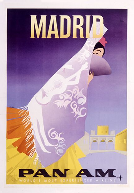 VINTAGE MADRID SPAIN PAN AM AIRLINES ART POSTER AD