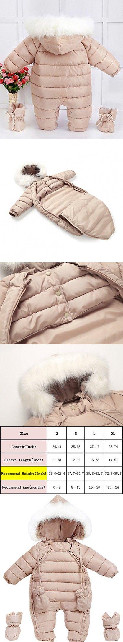 GIRL MELODY Fashion Baby Romper Baby Dress Winter Coat Cute Baby Snowsuit for Newborn Baby(Small, Khaki)