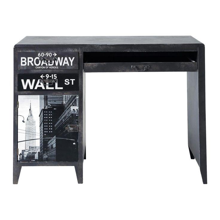 Zwart bedrukt houten industrieel bureau B 110 cm Wall Street