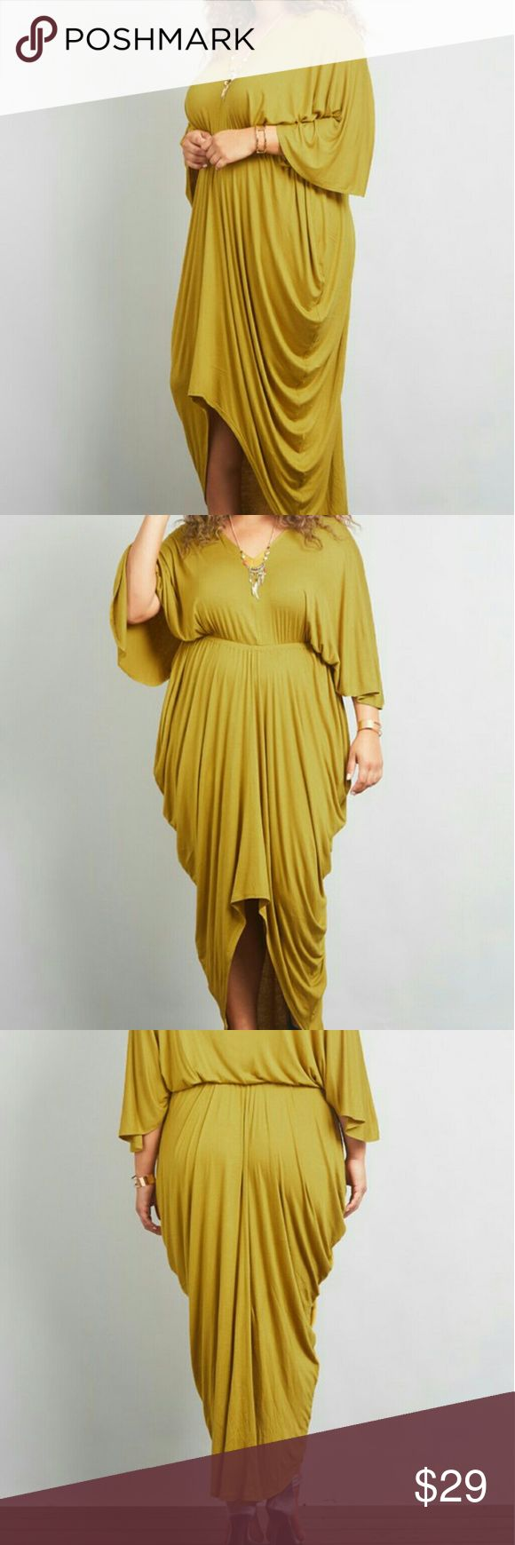 Plus Size Draped Maxi Dress This beautiful maxi dress has a asymmetrical hem -has a great stretch -Mustard Color Dresses Maxi