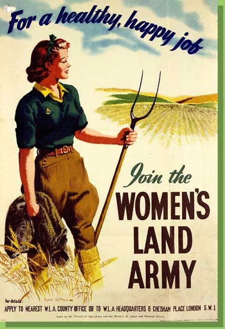 Poster urging women to join the 'Land Army' during World War Two.