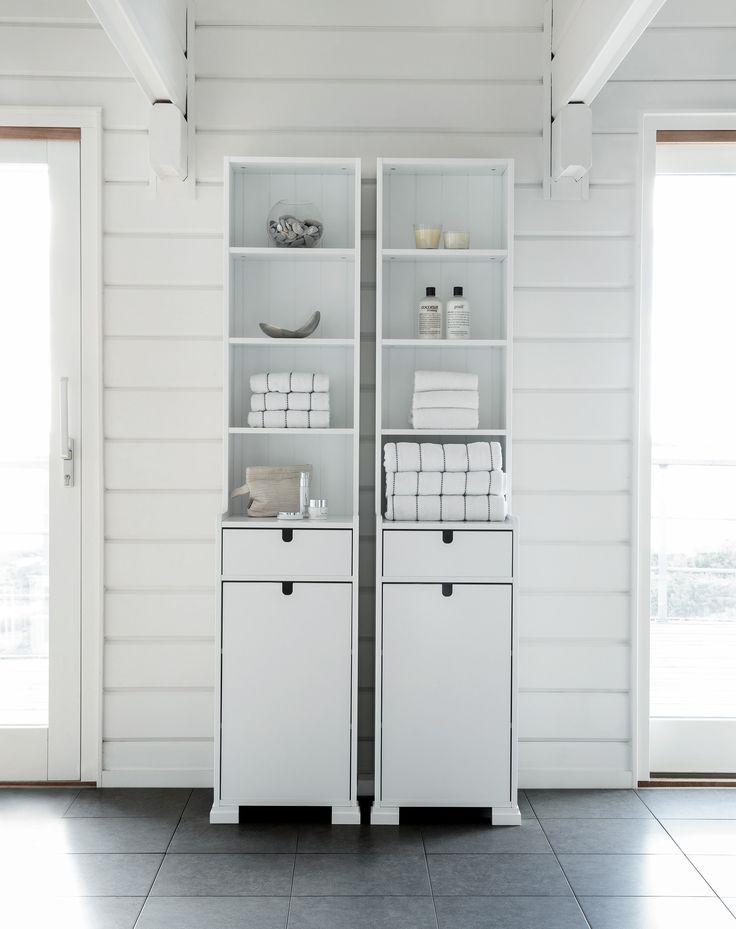 SVEA tall cabinet 190 white integrated handle.