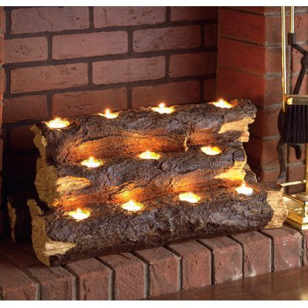 Holly & Martin Sierra Tealight Fireplace Log Candle Holders