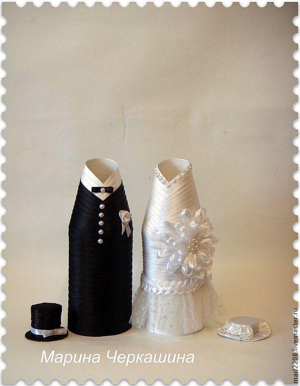 Купить Одежда для свадебного шампанского. - белый, черный, свадьба, свадебные аксессуары, свадебное украшение, бусины