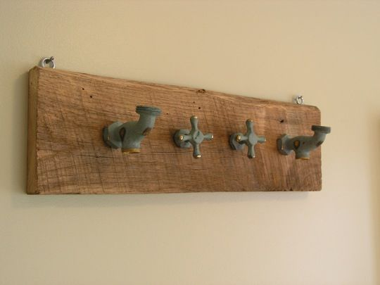 Coat rack out of old faucet handles