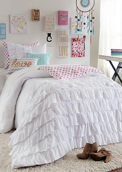 Full - White Ruffled Floral Comforter Set | rue21