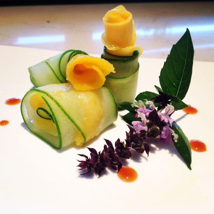 Cucumber and Mango Salad with Orange and White Balsamic Reduction #artofplating