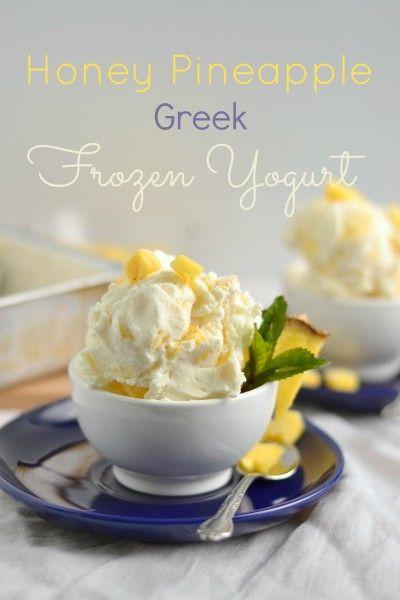 Honey Pineapple Greek Frozen Yogurt - cool and refreshing! A perfect summer treat - healthy, too!