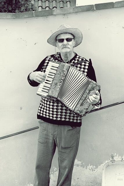 ACCORDIONIST - IN BW
