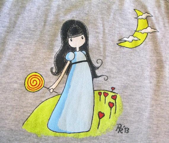"""""""Moon & girl"""" top tank /Camiseta de tirantes Niña con piruleta por Regalopia en Etsy."""