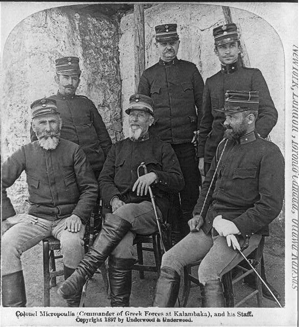 Colonel Micropoulis (Commander of Greek forces at Kalambaka), and his staff 1897