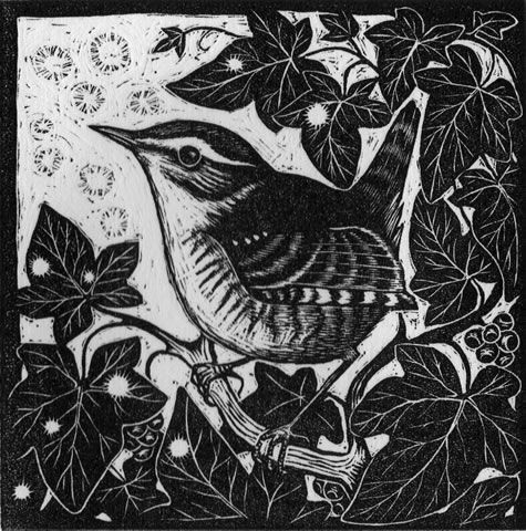 Wren wood engraving: Rosamond Fowler