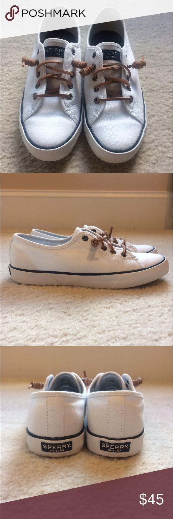 Sperry Top-Sider shoes Women's Sperry Top-Sider Pier View Core, white, size 7. Only worn two times. Still has original box. I have wide feet and these were too narrow for me, so it would fit perfect for someone with normal/narrow feet! Sperry Top-Sider Shoes Flats & Loafers