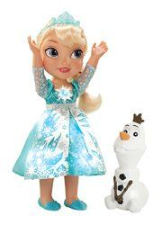 """Watch Elsa's power flurry with Snow Glow Elsa. With a touch of her magical snowflake necklace, hear Elsa talk to her Frozen friends and watch the magic as her dress lights up in a flurry of lights. Raise her arm and watch her snowflake necklace light up while it plays the award winning song """"Let it Go"""" and her dress magically lights up to the beat.  : :  http://www.reallygreatstuffonline.com/my-first-disney-princess-frozen-snow-glow-elsa-singing-doll/"""