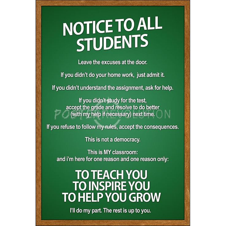 Notice To All Students Classroom Rules Poster 13 X 19in