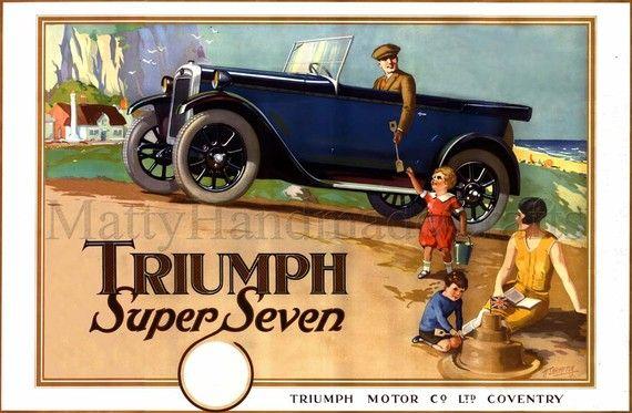 Triumph Super Seven Car 1930s Print by mattyhandmadecrafts on Etsy