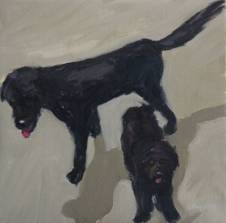 Rufus and Charlie.... one of two canvases commissioned for Christmas.