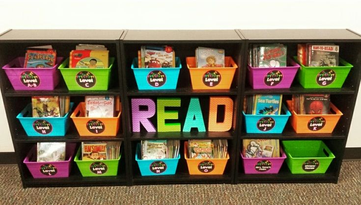 Classroom Library!  Black shelves from Walmart and neon bins from the Dollar Tree!  Letters were made with cardboard letters and scrapbook paper from Hobby Lobby!