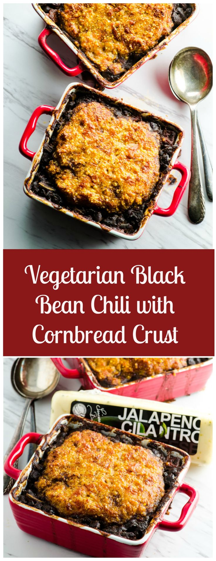 Cheesy Corn Bread Crusted Black Bean Chili, with a homemade corn bread and cheese crust, for a wonderful contrast of flavors and textures.