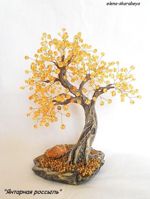 Tree of amber beads. Tutorial.