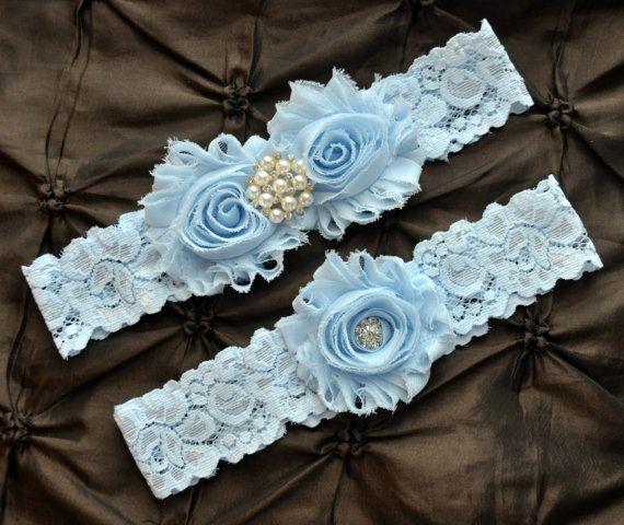 Wedding Garter Belt Bridal Garter Set Blue by HayesStreetBridal