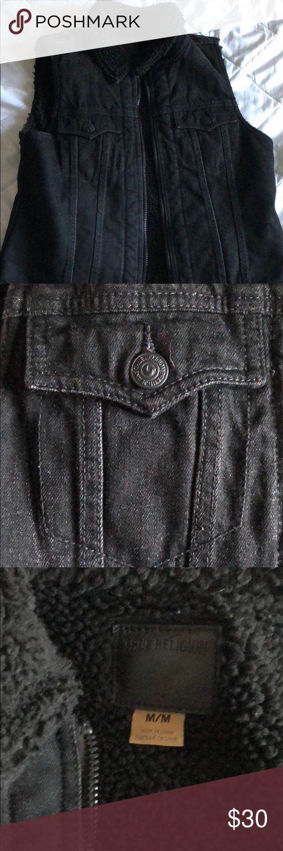 True Religion black denim vest with Sherpa lining Enjoy this zip up vest from True Religion. Black denim and Sherpa lining to keep you warm. Great with any outfit especially this time of year! True Religion Jackets & Coats Vests
